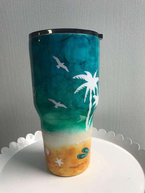 Beach Please Insulated Tumbler Jamaica 2018 Glitter Cups