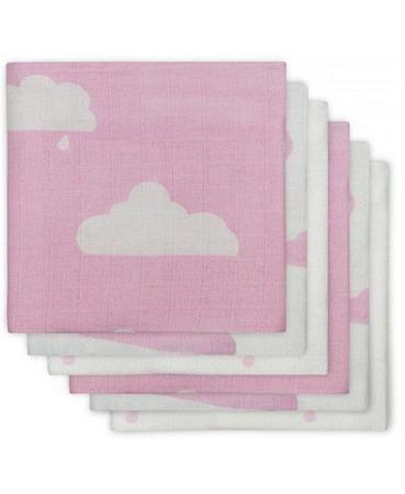 Jollein многоцелевые муслин 70х70 см 6 шт. розовые облака  — 1650р.  Комплект многоцелевых пеленок 70х70 см 6 шт. Jollein сделан из мягкой дышащей ткани - муслина. Пеленки идеально подойдут для каждодневного использования: во время кормления, переодевания, в качестве пеленок-подгузников, легкого одеяла или накидки.