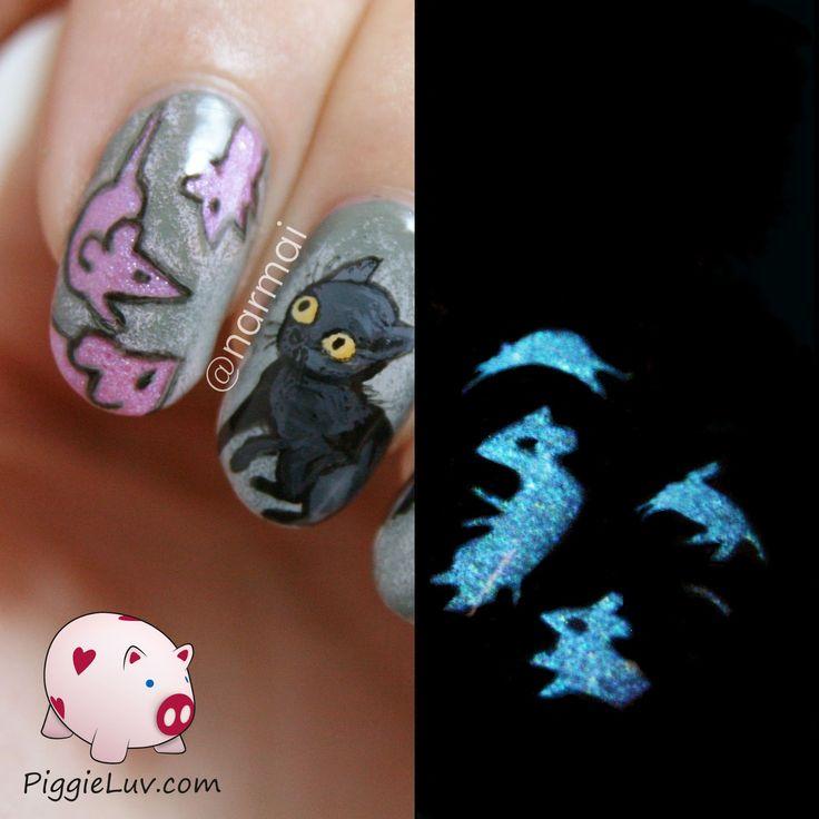 PiggieLuv: A cat's nightmare - glow in the dark nail art with...