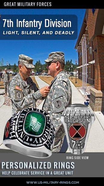 Attention members and Veterans of the 7th Infantry Division we have 7th Division rings that you can personalise with you name, rank and other personal details, these also come with a lifetime guarantee and make a great memento checkout here: http://www.military-rings.com/military-rings/unit-rings/7th-infantry-division/ #USArmy #7thInfantryDivision