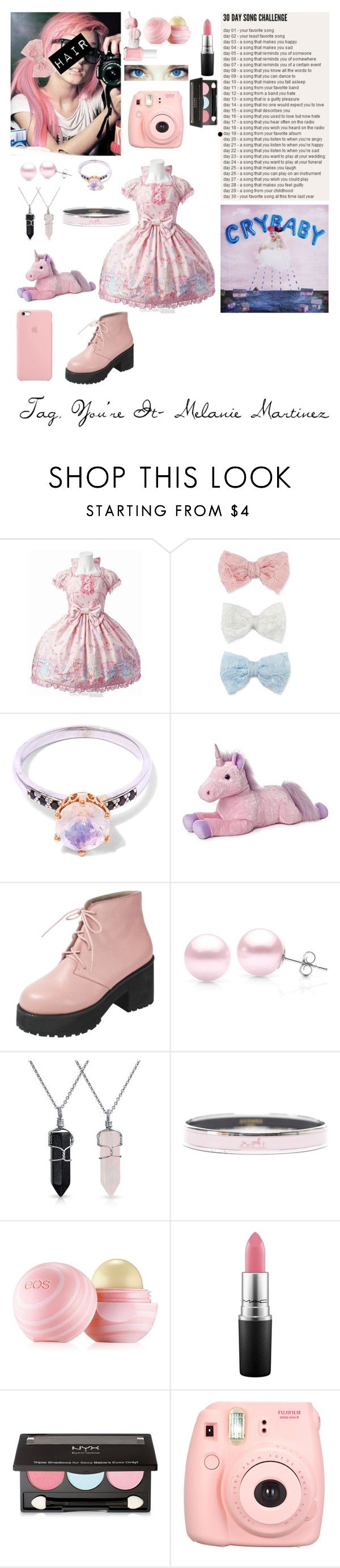 """""""(LATE) Tag, You're It- Melanie Martinez"""" by my-not-so-healthy-obsession ❤ liked on Polyvore featuring Decree, Anna Sheffield, Suzy Levian, Bling Jewelry, Hermès, Eos, MAC Cosmetics, NYX and Polaroid"""