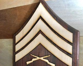 USMC Custom Wooden Rank Insignia Plaque