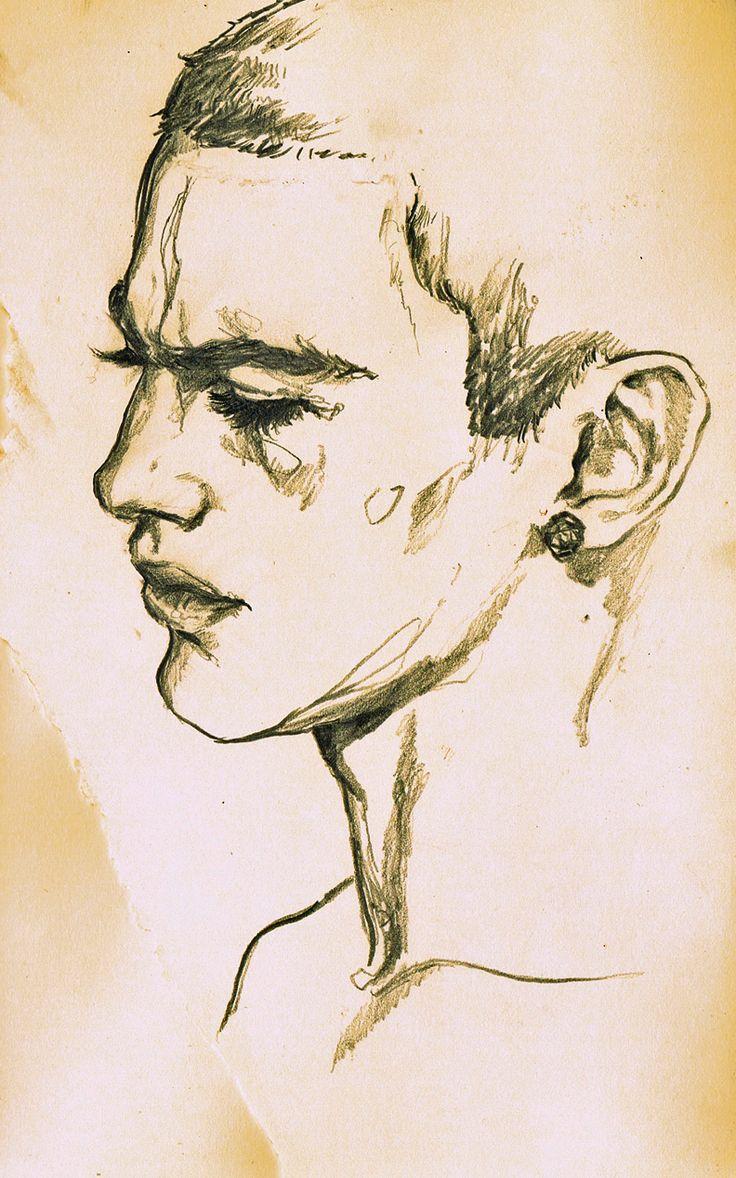 Male Portrait, Line Drawing, Sketch, by Adria Mercuri.