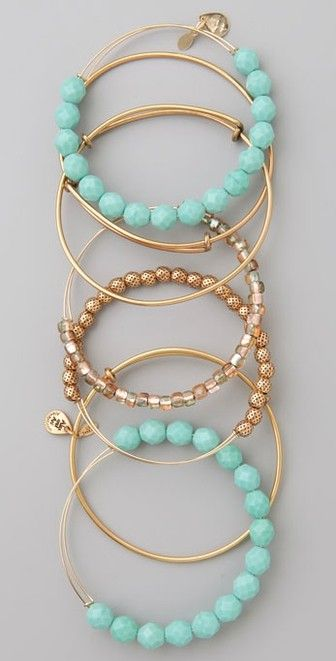 Alex and Ani Turquoise Expandable Wire Bangle Set