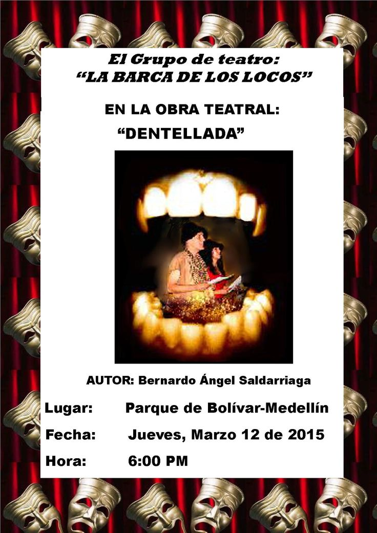 "Obra teatral ""DENTELLADA"", escrita por Bernardo Ángel Saldarriaga. Actores: Lucía Agudelo Montoya y Bernardo Ángel Saldarriaga"