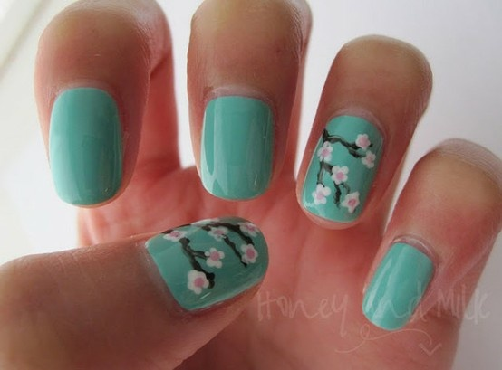 Like the Arizona Green Tea cans!Cherries Blossoms Nails, Nails Art, Wedding Nails, Nails Design, Flower Nails, Japan Beautiful, Something Blue, Fingers Nails, Blue Nails