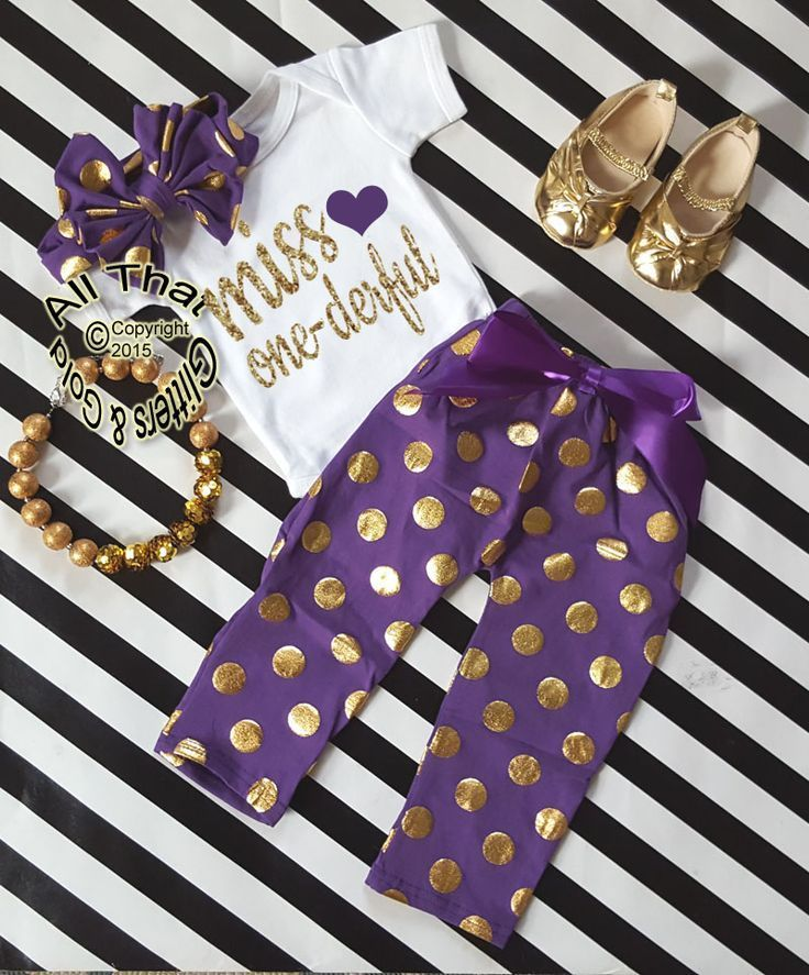 Purple and Gold Polka Dot Miss One-derful One Year Birthday Outfits For Baby Girls