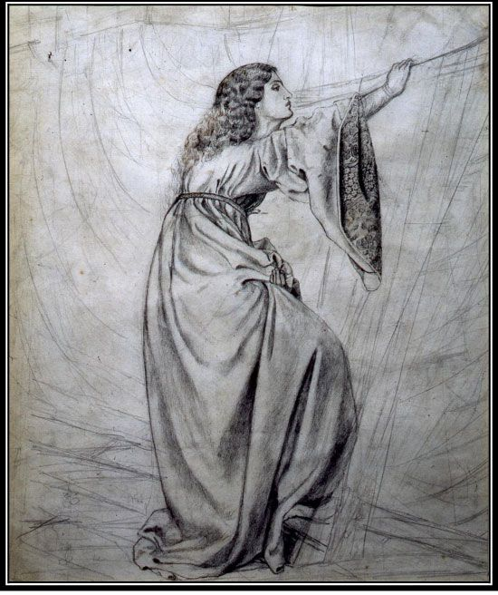 Study for 'Iseult on the Ship' by William Morris, c. 1857. Portrait of Jane Burden. Pencil and ink.
