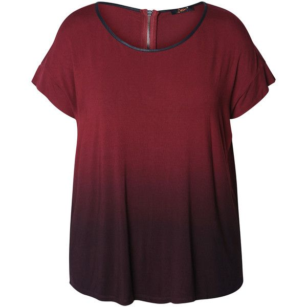 Devoted by Dex Wine Dip-Dye Zipper Top ($25) ❤ liked on Polyvore featuring plus size women's fashion, plus size clothing, plus size tops, tops, plus size, red top, rayon tops, stretchy tops and womens plus tops