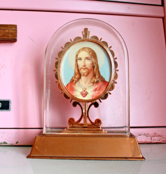 Vintage Plastic Jesus Framed Picture on Base by kitschparade, $10.00