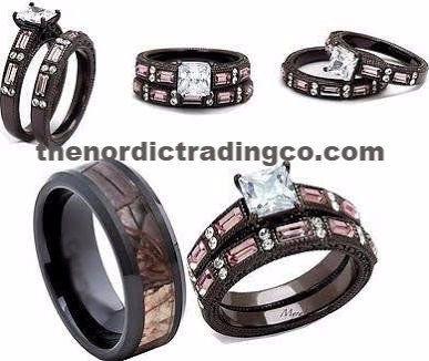 Camouflage Wedding Ring Set Men's Band 7-14 Engagement Ring Wedding Band Women's 5-11 Couples Camo Rings #huntersrings #weddingrings #hisandhers #camorings #rustic #hisandhersrings