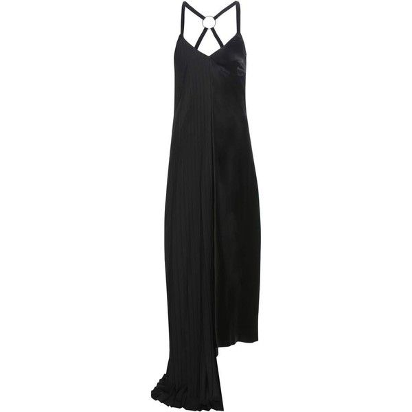 Off-White Slip Dress ($1,440) ❤ liked on Polyvore featuring dresses, black, cocktail/gowns, slip dress, vintage white dress, champagne dress, off white dress and special occasion dresses
