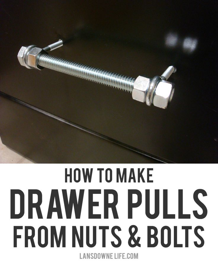 The plastic handles on my metal file cabinet had cracked and broken, so I decided to replace them with handles made from bolts, nuts and eye screws. I remember seeing this idea in an old issue of Readymade, but I searched for it online and went through every back issue I own and couldn't find …