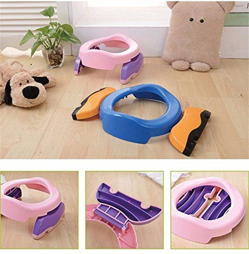 Baby Potty Training 2 in 1 Toilet Training seat & Seat Cover Foldable Travel Potties Pink Color for Girl age 2 years and Up to 60lbs. Baby Potty Training 2 in 1 Toilet Training seat & Seat Cover Foldable Travel Potties. Pink Color for Girl age 2 years and Up to 50lbs We have available for both Blue & Pink Color if you need to change color please e-mail to me). ++CONTOURED seat for your child's comfort ++ STURDY well-balanced base helps your child feel secure ++ with NON-SLIP Rubber More...