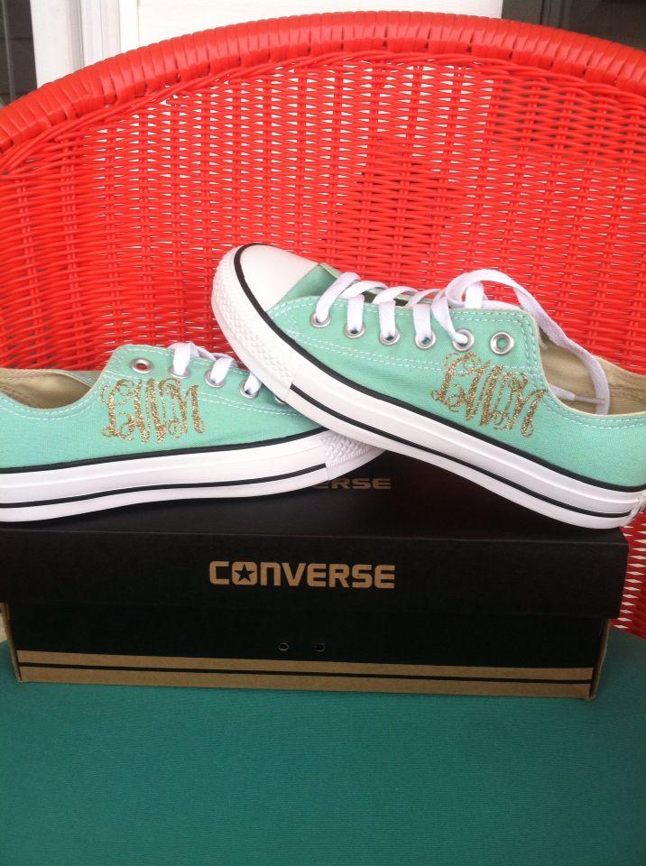Monogram Converse shoes using Heat transfer glitter vinyl