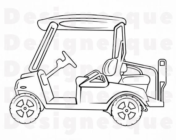 Golf Cart Outline 3 Svg Golf Cart Svg Golf Cart Clipart Etsy Clip Art Golf Carts Svg
