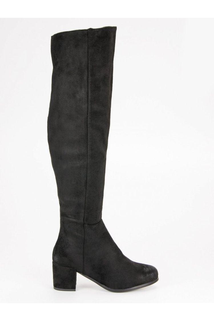 f04cf85f3a208 Vysoké čierne čižmy nad kolená VINCEZA YQE19-1770B