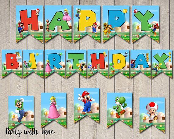 Super Mario Happy Birthday Banner Flags Bunting Party Decor Decorations Printable Yosh