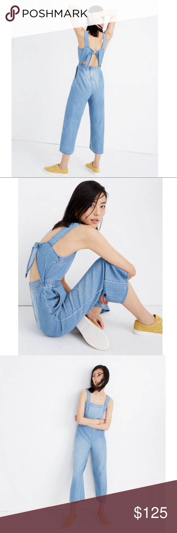 Madewell Denim Apron Bow Back Jumpsuit
