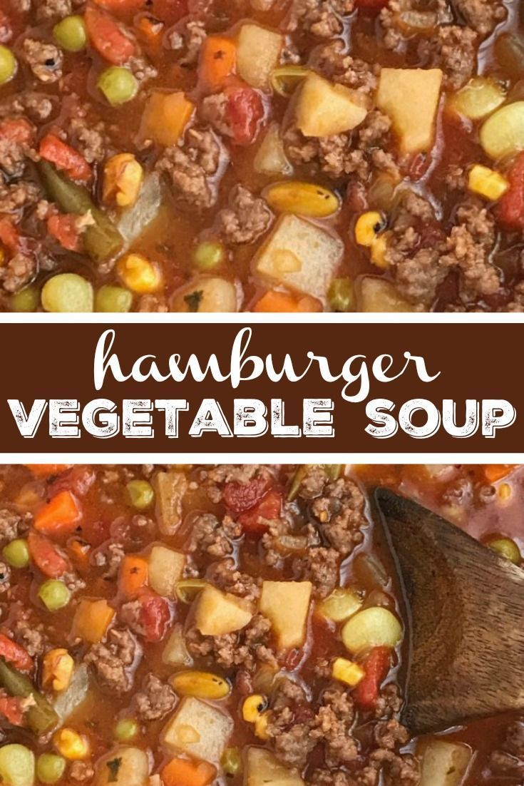 Hamburger Vegetable Soup | Tomato Soup | Hamburger Soup | Tomato hamburger vegetable soup is an easy tomato based soup recipe that is filled with ground beef, seasonings, and uses frozen vegetables for ease and convenience. Simmers on the stove top, or le