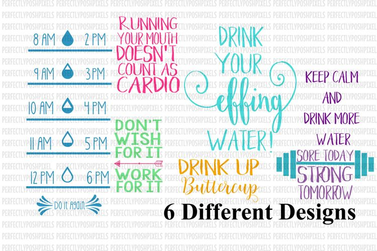 672a6beb64 SVG Water Bottle Label svg file Water Tracker Fitness Decal Fitness svg  Silhouette Cameo Sore Today Strong Tomorrow Drink Up Buttercup