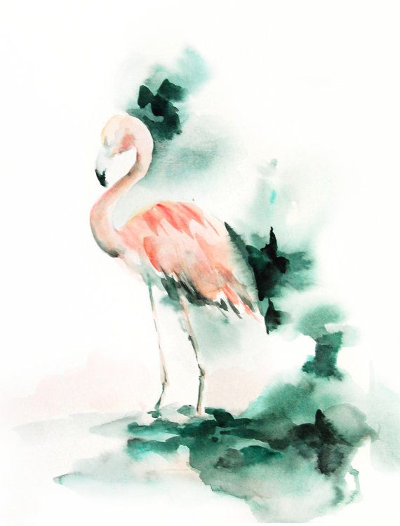 Pink Flamingo Art Print of Original Watercolor Painting 9x12'', Watercolor Print Bird Wall Art, Salmon Pink and Emerald Green