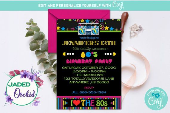 rock on neon retro 80s birthday party invitation template