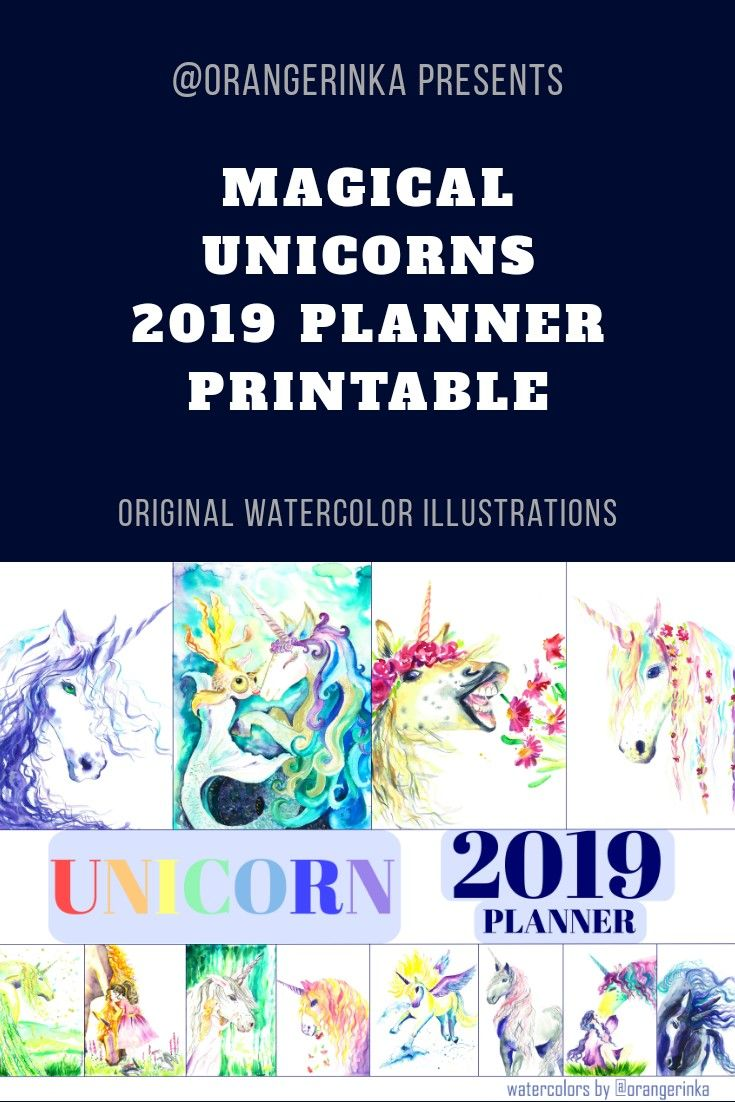 Large Printable Planner 2019 Unicorns Cute Wall Calendar