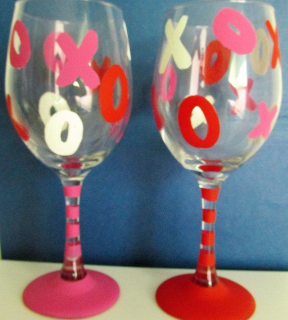 Hand Painted Valentine S Day Themed Wine Glasses Featurin