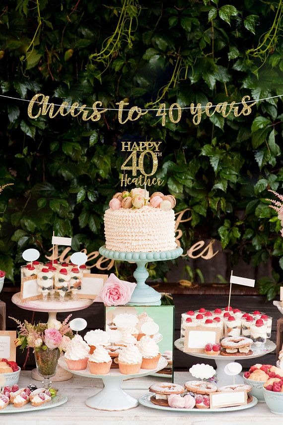 40 Cake Topper Banner Birthday Decorations