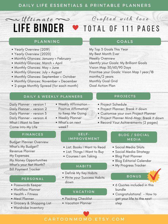 ultimate life binder printable planner budget planner h