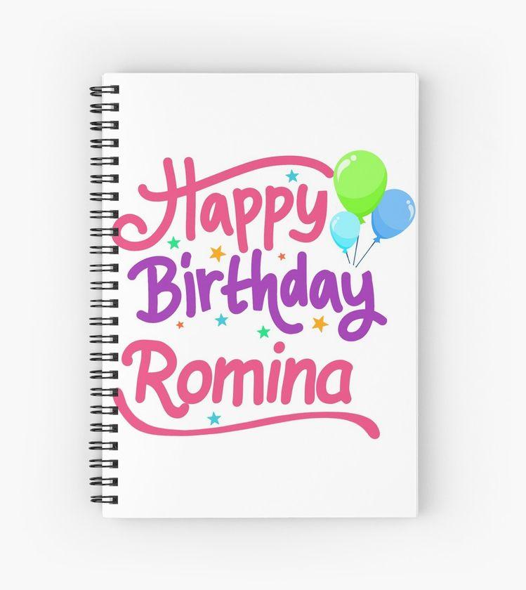 happy birthday romina spiralblock by pm names