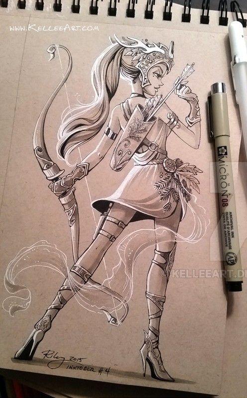 Garota guerreira desenho em caneta