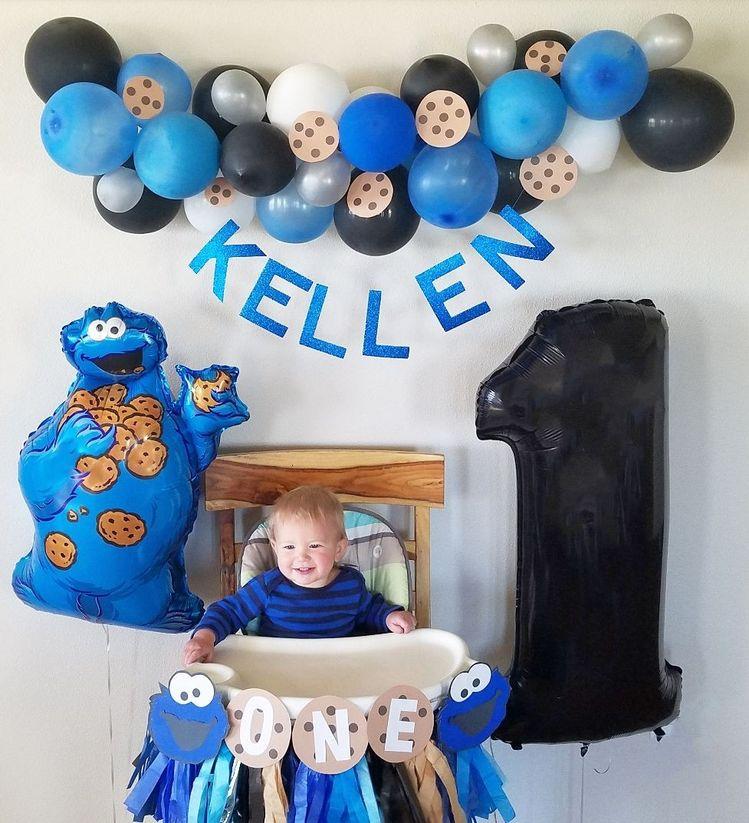 Cookie Monster Party Theme Birthday Boys Ideas Decor Balloons Blue Balloon