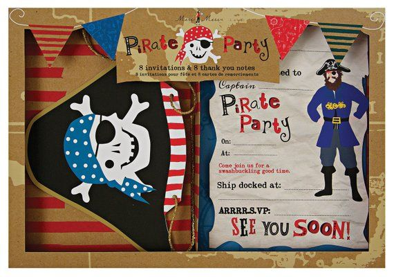 Ahoy There Pirate Invitations Thank You Cards