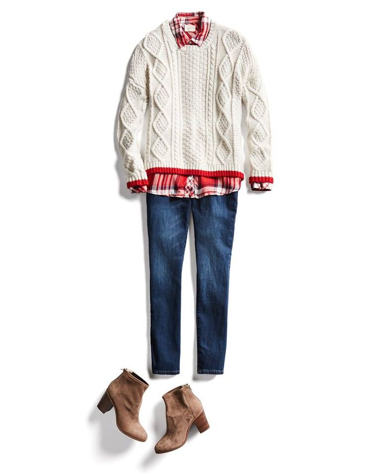 I've got skinny jeans and a plaid shirt, a sweater big enough to go over a shirt and in a neutral color could be good.