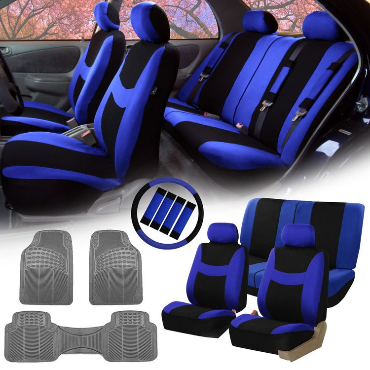 Blue Black Car Seat Covers For Auto W Steering Cover Belt Pads Floor Mat FHGroup