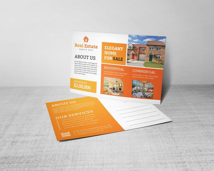 Creative Real Estate Postcard Design Template - Graphic Templates