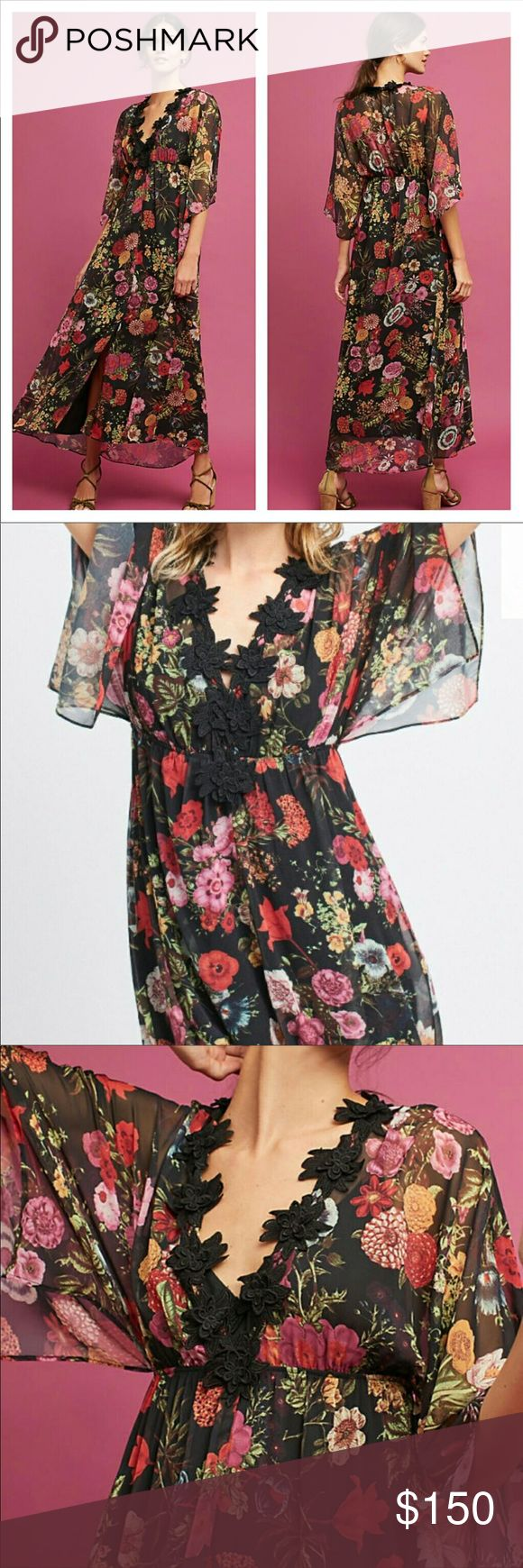 2ca9121ff52a NWT Anthropologie Farm Rio Laina Maxi Dress A deep v-neck trimmed with bold  lace makes a statement on this delicate floral gown.