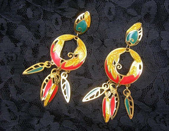 Statement Pierced Earrings By Edgar Berebi 3 75 Long Dangling In Fiesta Colors Collectibl