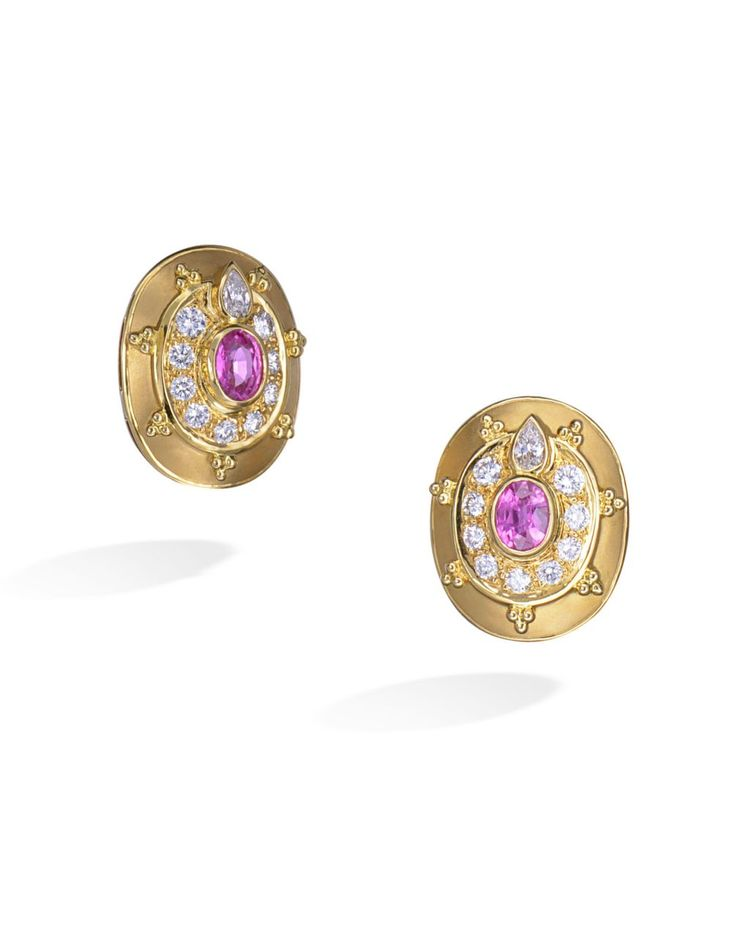 d8575689e Beautiful pair of 18 karat yellow gold clip earrings set with diamonds and  a pink sapphire