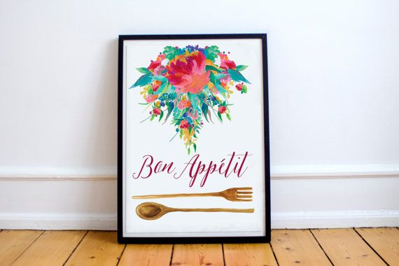 Printable Kitchen Signs Bon Appetit Quote 8x10 Kitchen Pr