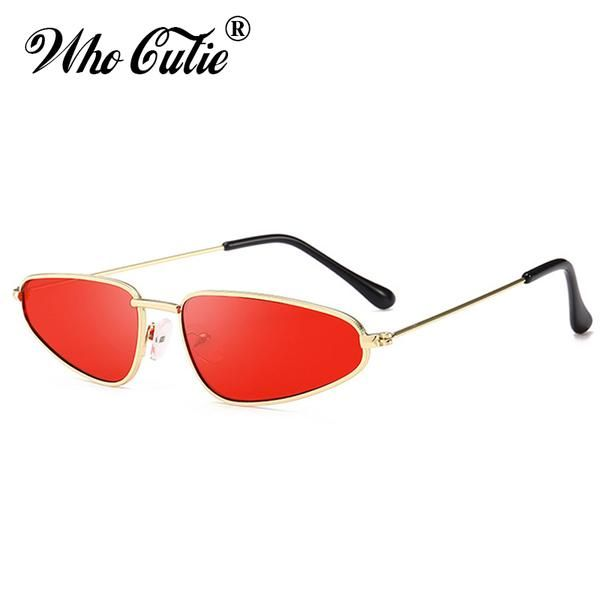 d4e64f0f3f7 Who Cutie Slim Cat Eye 90S Sunglasses Women Men Retro Vintage Pink Yellow  Red Lens 569