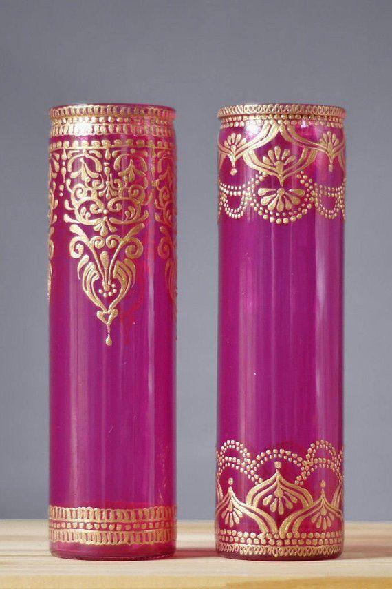 Bohemian Wedding Decor Bud Vase Set Henna Wedding Centerpi