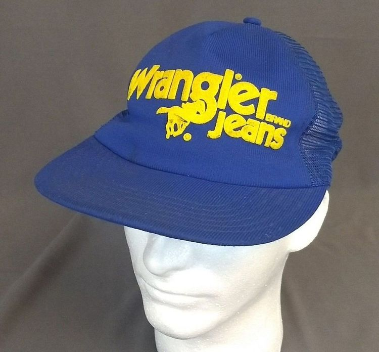 34124b22 Vintage Wrangler Brand Jeans 80s Blue Trucker Hat Cap Snapback USA Yellow  Horse #TruckerHat #