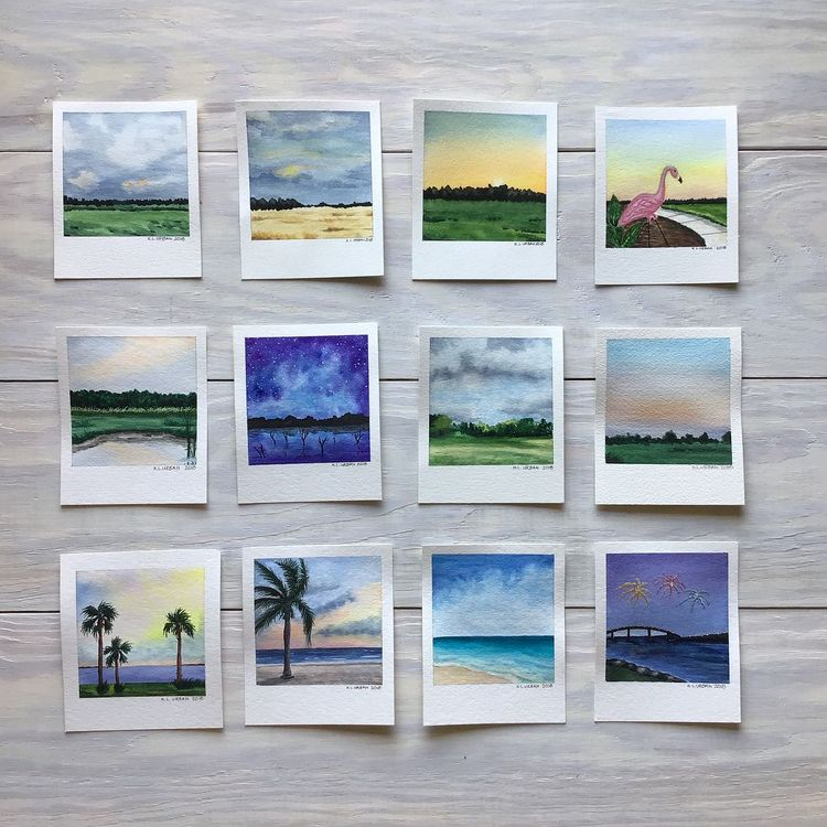 I thought Id post the 32 Polaroid pictures I created that helped get me through the second half of my 100 day project #100daysofskyart. I decided to do the #100dayproject at the last minute and was not sure Id complete it. I am thrilled that I finished although I do wish I could have kept on track the whole 100 days. After having to stop for over a week due to a work trip I chose to pick up where I left off and complete the challenge. I learned a lot am much better at painting skies really learn