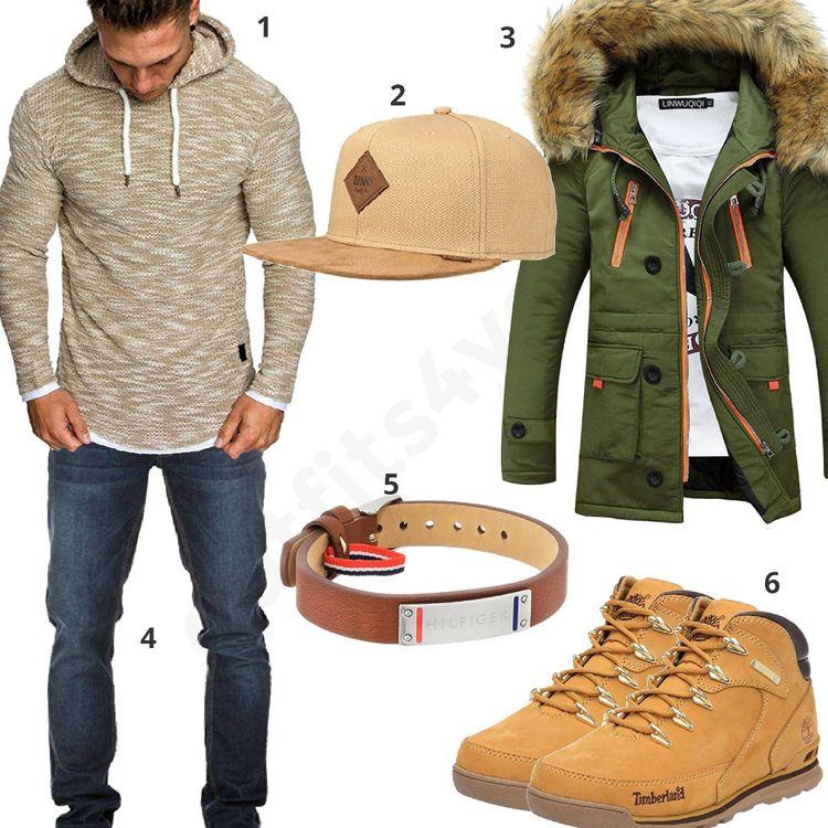 Beiges Winter-Outfit mit Parka für Männer  beige  cap  jeans  parka  outfit   style  herrenmode  männermode  fashion  menswear  herren  männer  mode ... 92a5f7f0bf