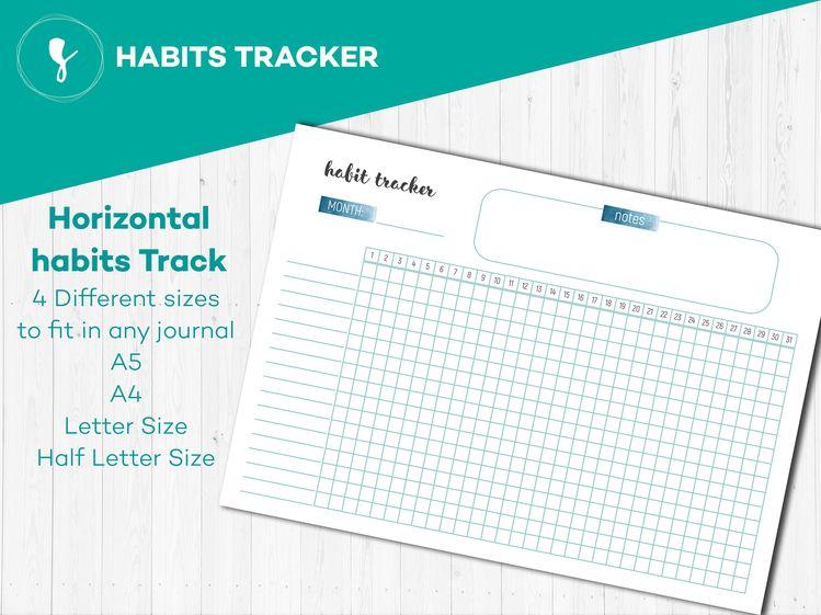 Printable Bullet Journal Habit Tracker, 30 Days Habit Challenge, Printable Monthly Habit Tracker, A5 Filofax Inserts
