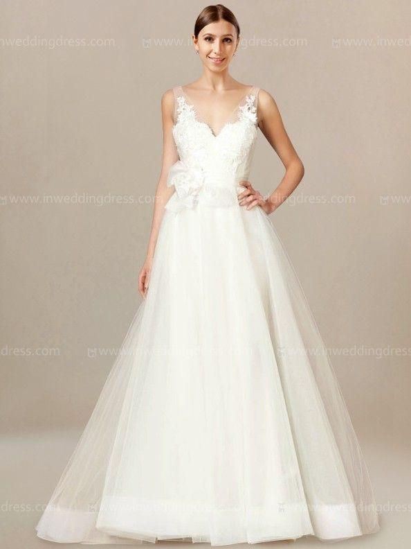 a307af6055 V-Neck Modest Bridal Gown with Tulle Skirt BC712