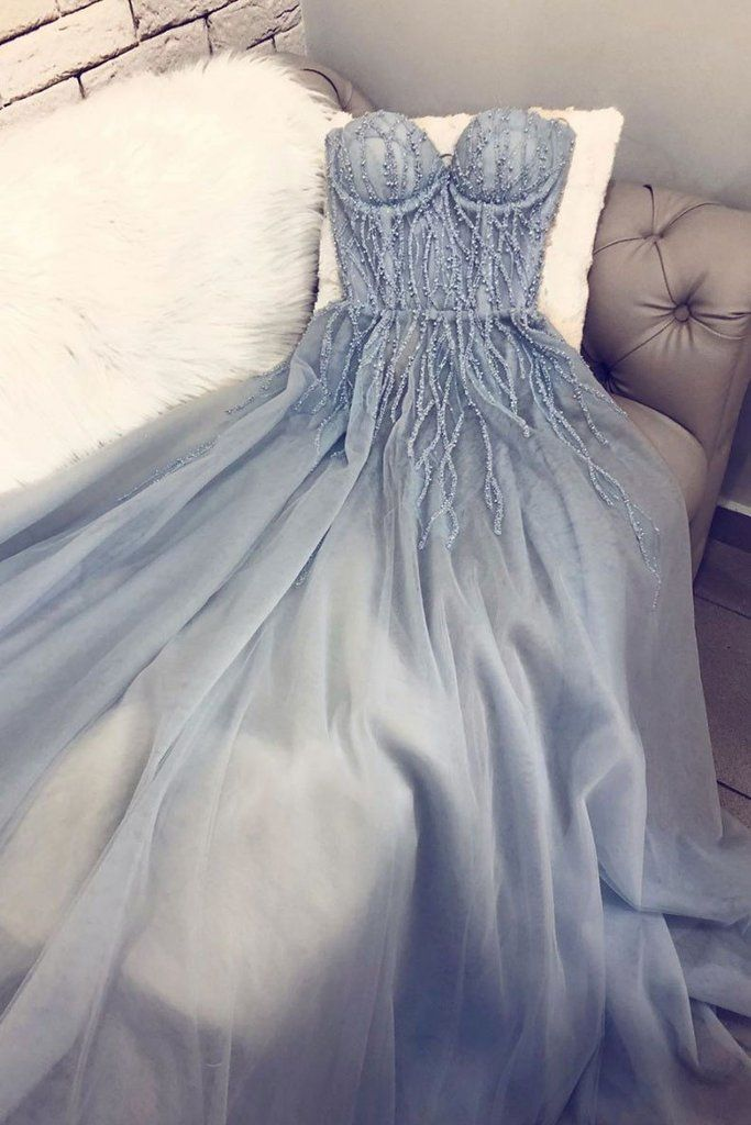 A Line Sweetheart Tulle Appliqued Prom Dresses, Charming Long Party Dr – Simibridaldress